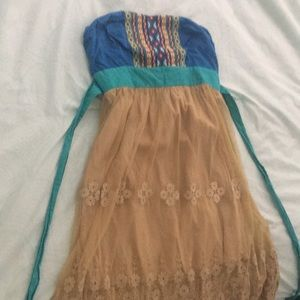 Beautiful vintage multi color and lace dress